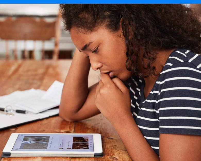 Girl with device distance learning
