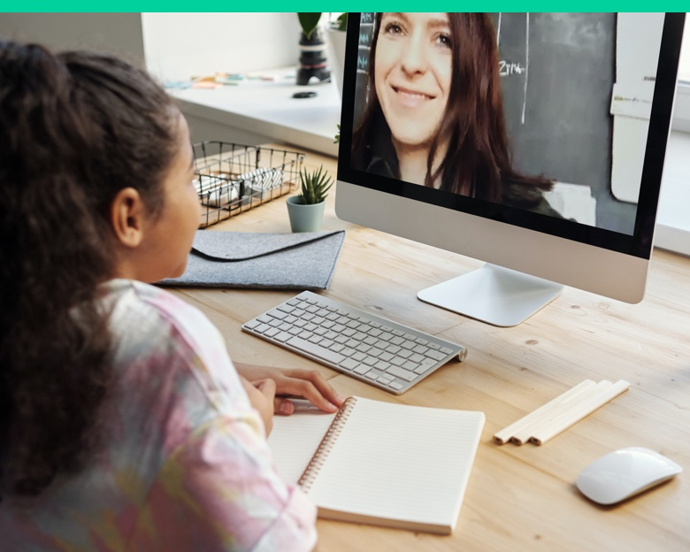 Girl and teacher, online classroom